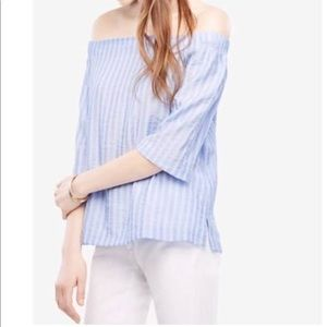 Ann taylor Blue & White Off the Shoulders Shirt